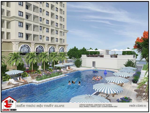 Không gian bể bơi thư giãn tại Ruby City Ct3