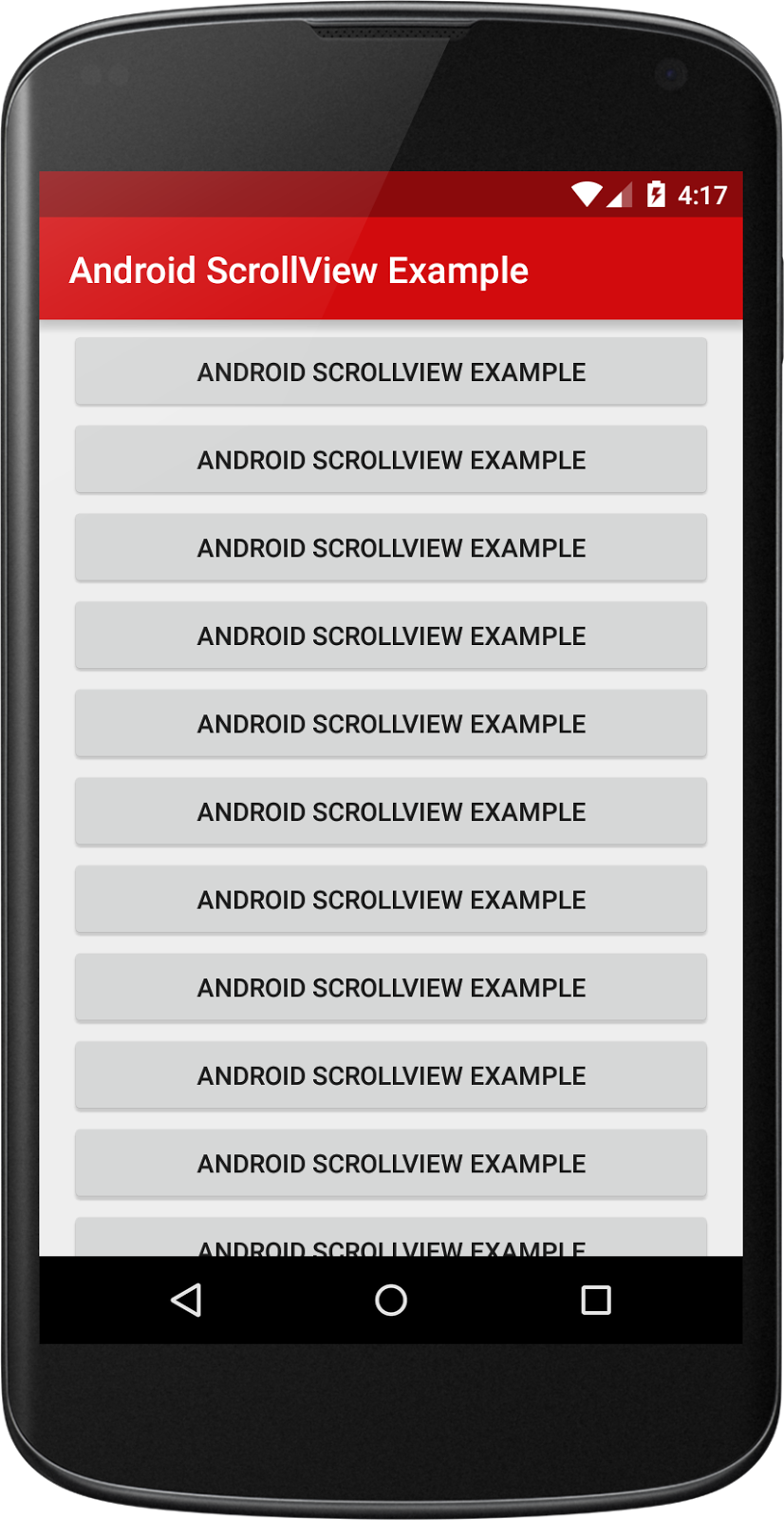 Android ScrollView Example