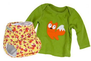Baba and Boo mr fox cloth nappy and t-shirt giftset - prize