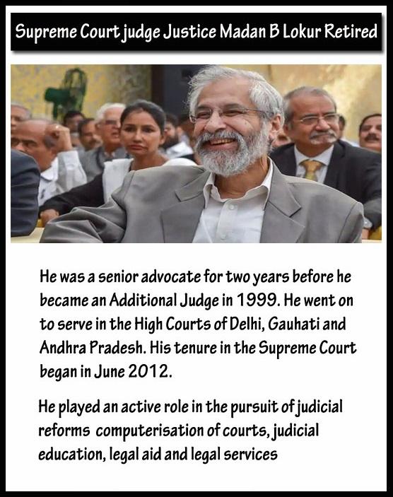 Supreme Court Judge Justice Madan B Lokur Retired