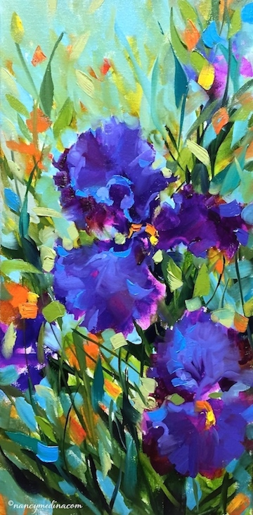 http://www.nancymedina.com/available-paintings/signs-of-spring-purple-iris