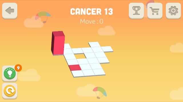 Bloxorz Cancer Level 13 step by step 3 stars Walkthrough, Cheats, Solution for android, iphone, ipad and ipod