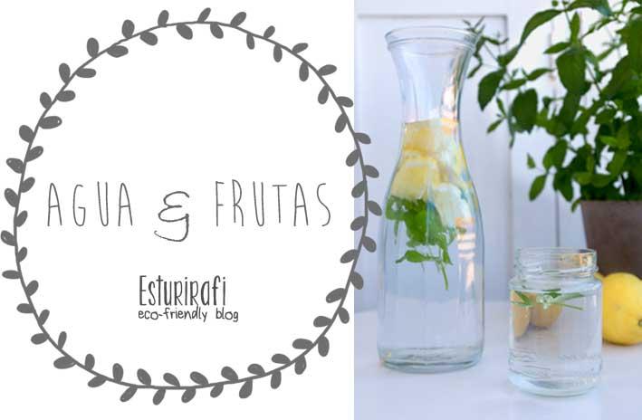 Receta de agua con frutas: 1 litro de agua, 1 o 2 limones y unas ramitas de hierbabuena