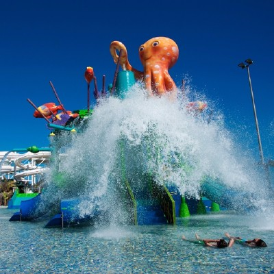 Water park with slides and a large cartoon octopus sitting on the top