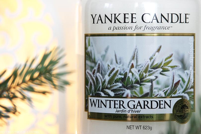 etykieta świecy yankee candle winter garden z bliska