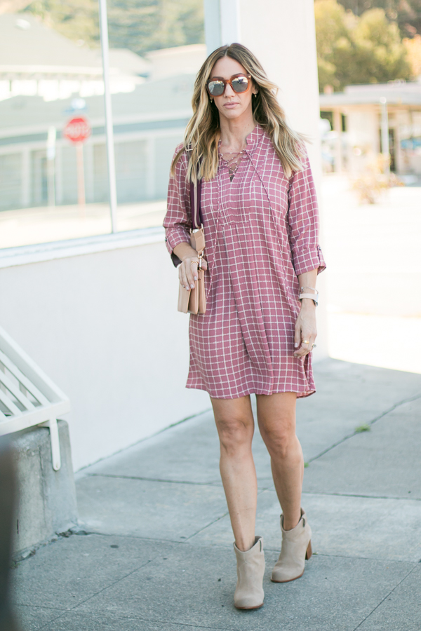 pink blush mauve lace up dress