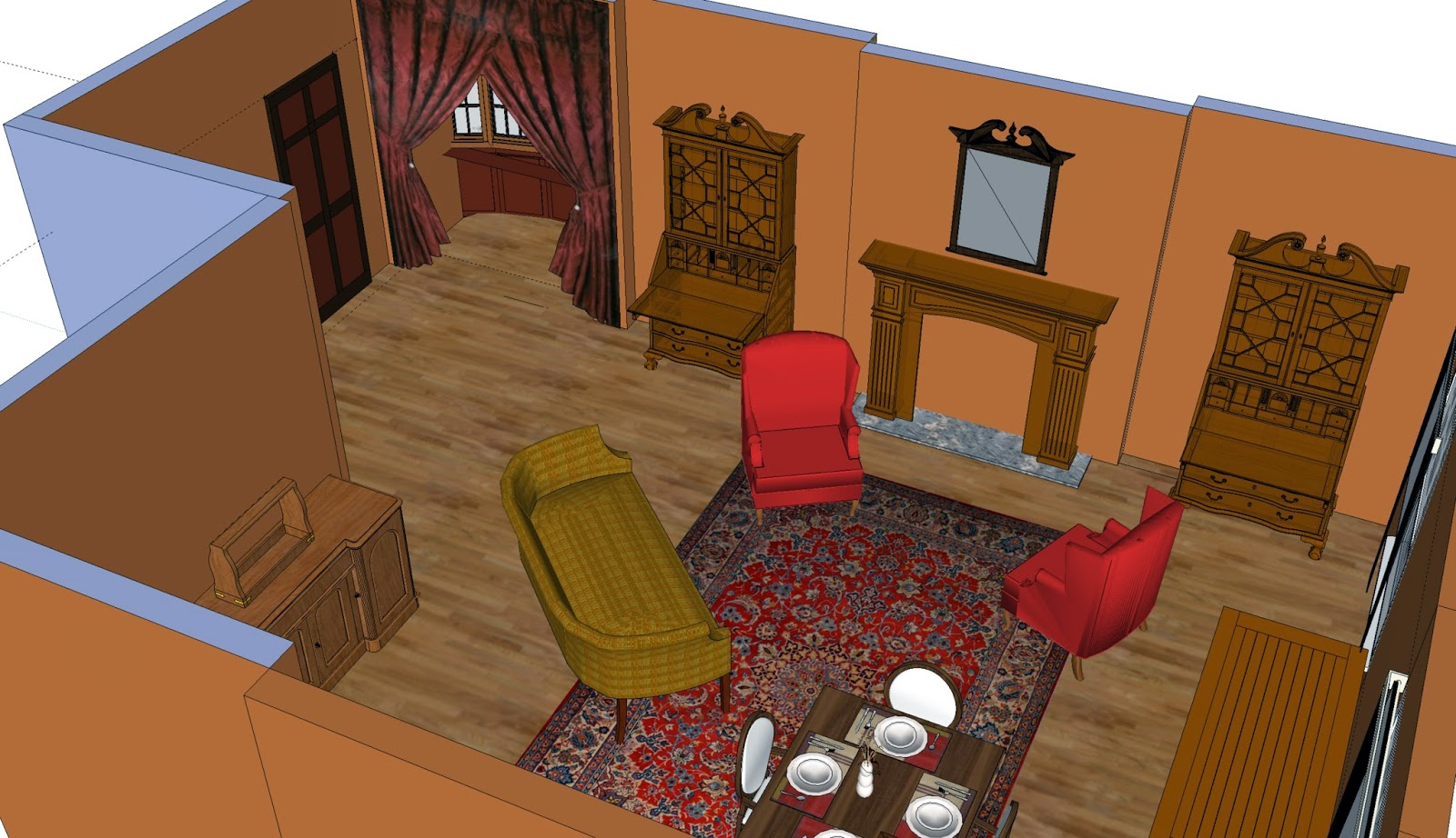 Mock-up of what 221B Baker Street looked like, according to Sidney Paget's drawings