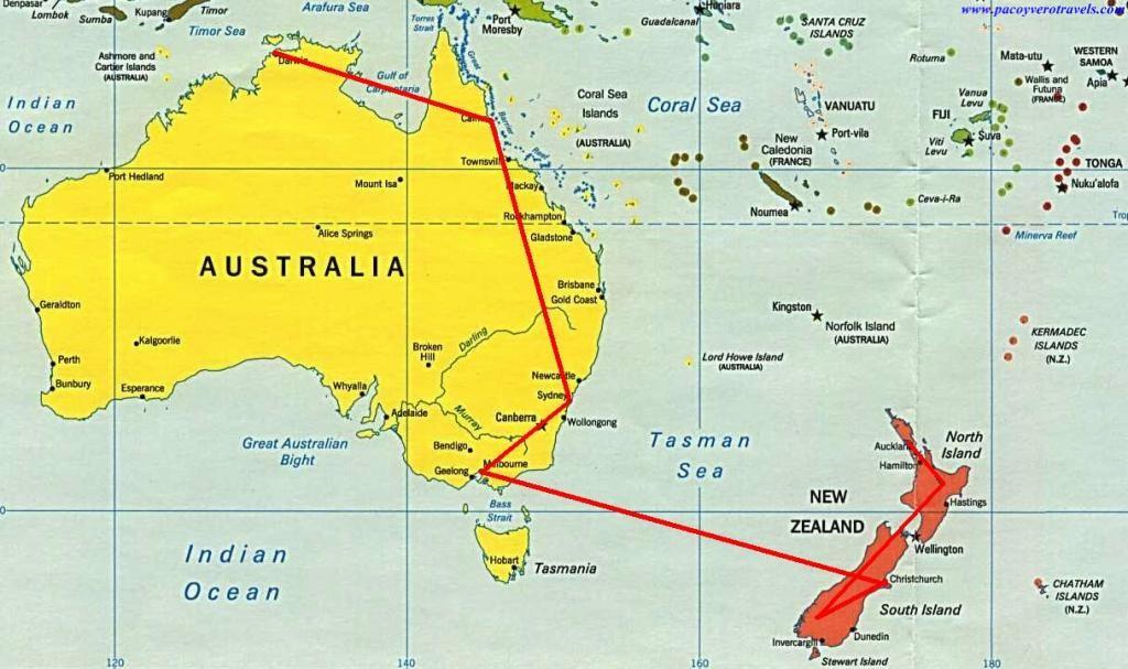 Donde Esta Nueva Zelanda Mapa Mundi.Australia Y Nueva Zelanda En 33 Dias Vuelos Y Seguro De