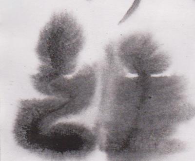 Gambar Eksplorasi/eksperimen teknik kombinasi tinta Oi, dengan air menggunakan kuas besar no 12.