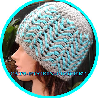 crochet Herringbone free hat pattern