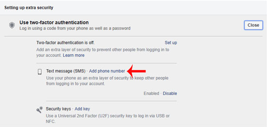 facebook me two factor authentication on kaise kare