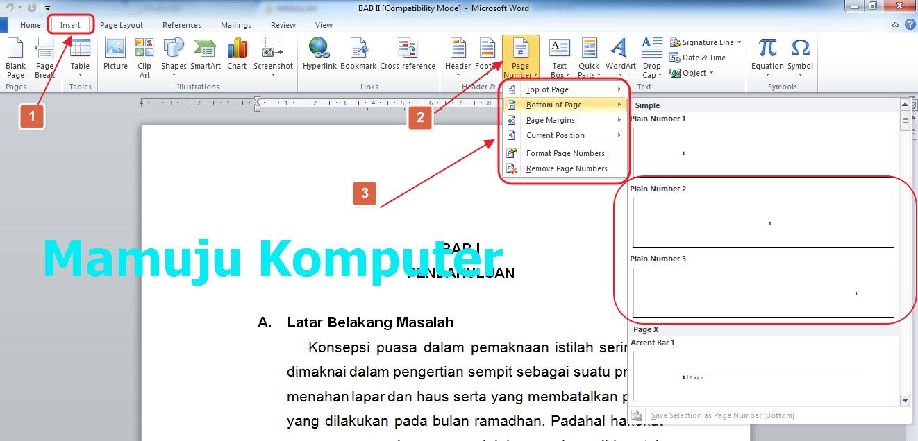 Cara Membuat Nomor Halaman Page Number Pada Microsoft Word