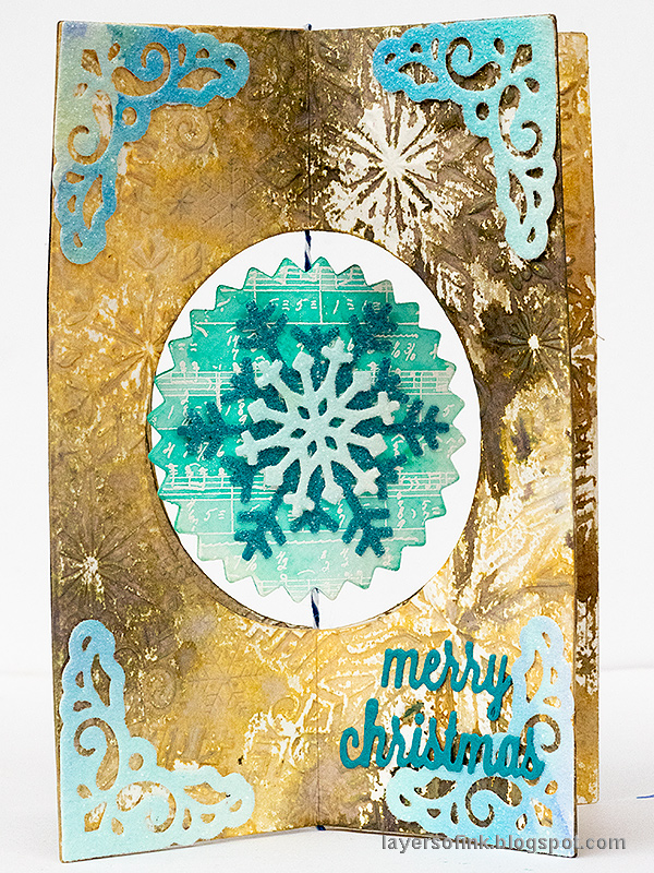 Layers of ink - Interactive Snowflake Spinner Tutorial by Anna-Karin Evaldsson, made with Sizzix Lori Whitlock Snowflake Card die.