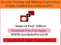 Security Printing & Minting Corporation of India Limited Recruitment 2017-Officer