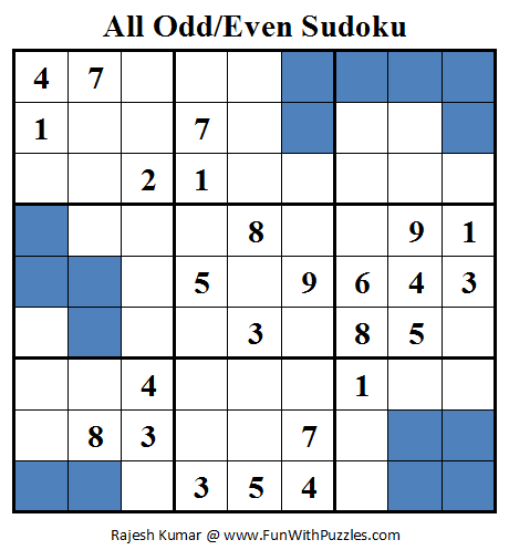 All Odd/Even Sudoku (Daily Sudoku League #78)