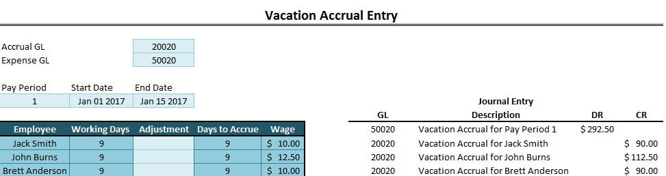 accrued vacation and time off template howtoexcel net