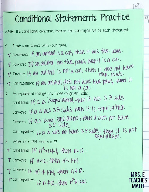 Conditional Statements Foldable for interactive notebooks in geometry