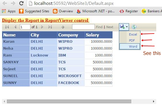 How to Display data in ReportViewer Control in asp net web