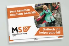 MS Society Cymru donation leaflet design and print by Designworld Ltd