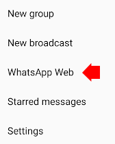 WhatsApp web menu