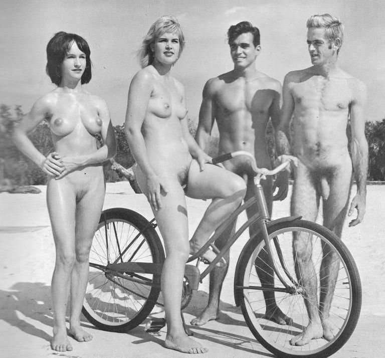 Nudists art retro vintage