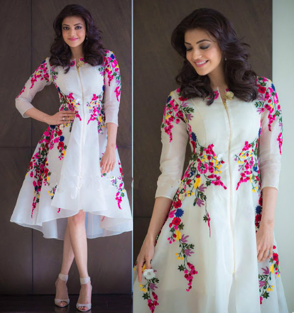 Kajal Agarwal Designer White Floral Embroidered Zipper Front Western Dress
