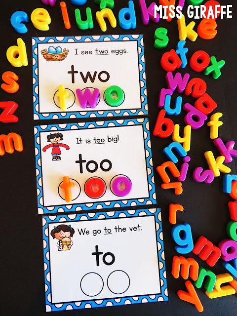 Homophones to too two activities and games that make teaching homophones way more fun! These are perfect for a small groups lesson or independent literacy centers in first grade or 2nd or even kindergarten because of how simple the sentences are that match the pictures - love these!