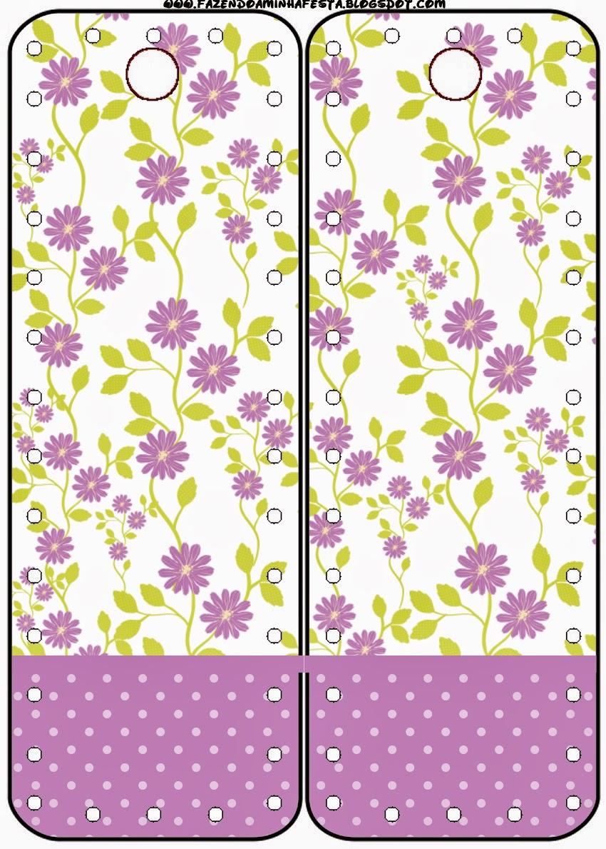 Marcapaginas para Imprimir Gratis de Flores Moradas.