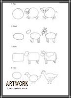رسومات حيوانات الخطوات للاطفال