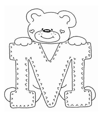 мишка и буква М раскраска. bear and letter M coloring pages.