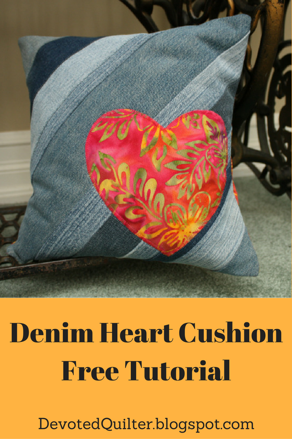 Denim Heart Cushion Tutorial | DevotedQuilter.blogspot.com