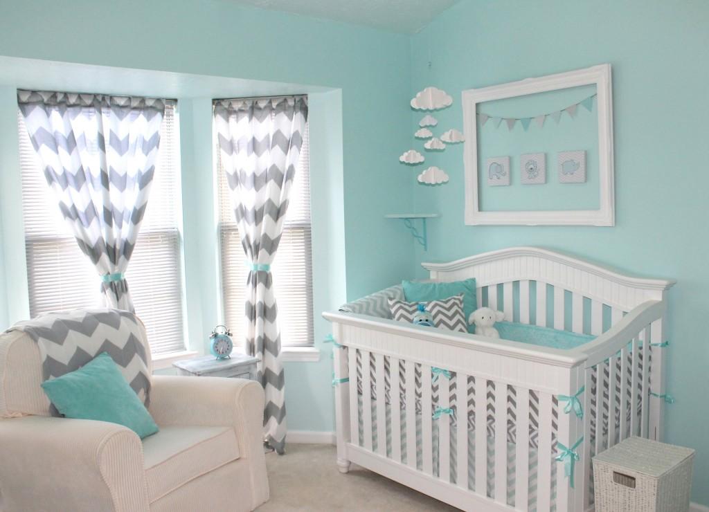 cuarto de bebe en gris y turquesa