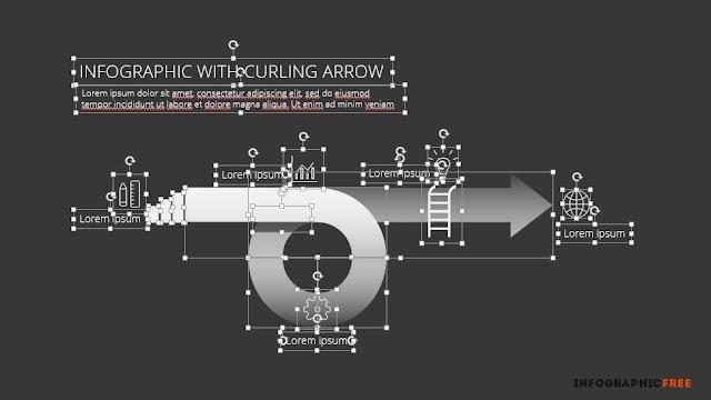 Editable curling arrow