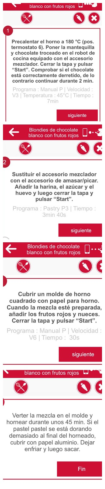 Blondie con frutos rojos. Receta con (y sin) Moulinex i-Companion.