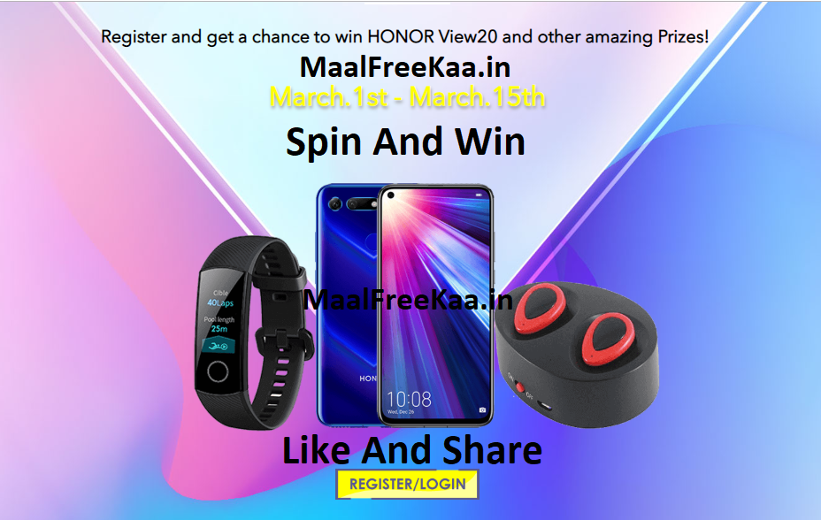 Spin And Win Honor View 20 Smartphone - Freebie Giveaway