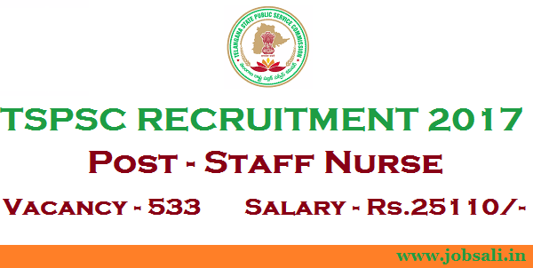 TSPSC Staff Nurse Recruitment 2017, govt staff nurse vacancy, tspsc notification 2017