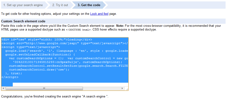 custom search copy code