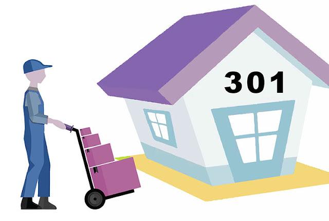 repartidor va a una casa con el número 301