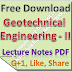 Lecture Notes on Geotechnical Engineering - II PDF