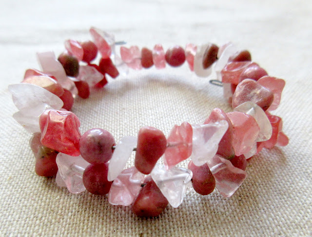 Rhodonite pink quartz STEM physics sciart science jewelry