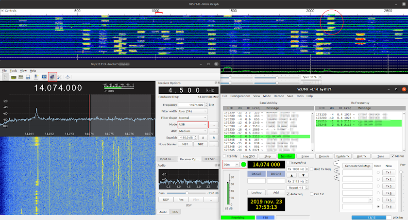 FT8 decoding with Gqrx and WSJT-X