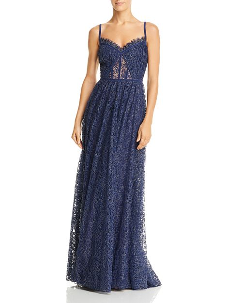 Metallic Floral Lace Gown