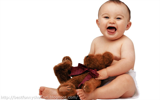 Funny baby and toy.