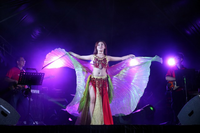 Malaysia's Sun Cola has boosted her act this year by incorporating complex aerial hoop dances, on top of her signature belly dancing routines.