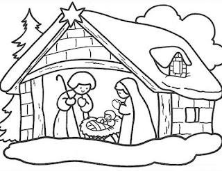 Colorear Pesebre En El Establo Con Jesus Dibujos