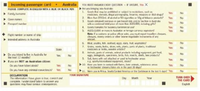 Thủ tục hải quan Úc và cách điền tờ khai nhập cảnh Úc 4
