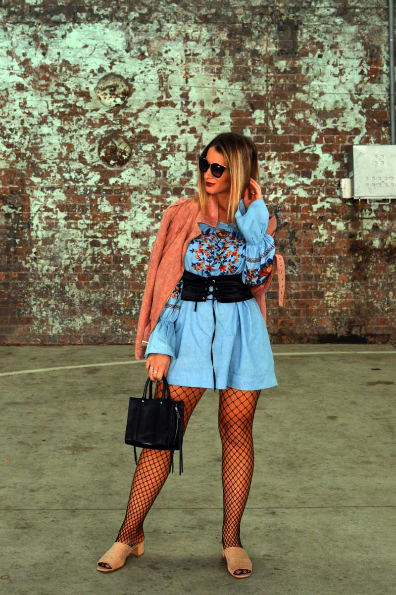 mbfwa street style outfit off shoulder denim embroidered dress with lace up corset belt and loafers