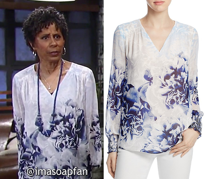 Stella Henry, Vernee Watson, Blue and White Floral Blouse, Calvin Klein, General Hospital, GH