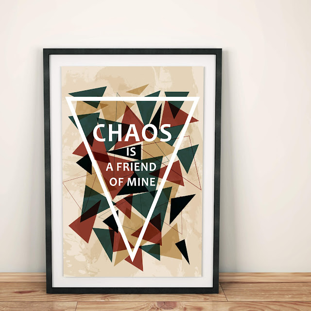 Poster design with chaotic triangles by Natalia Kolodiazhna.