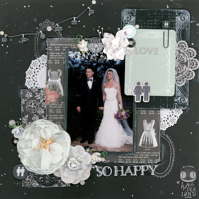 Alice Scraps Wonderland | So Happy:  A Wedding Scrapbook Page